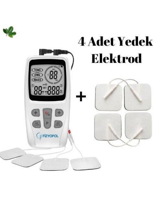 Fizyopol Masaj  Tens EMS Cihazı ve 4'lu Kablolu Yedek Elektrodla birlikte